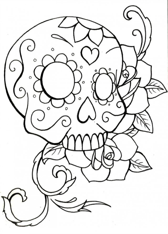 Sugar Skull Coloring Pages Coloring Rocks