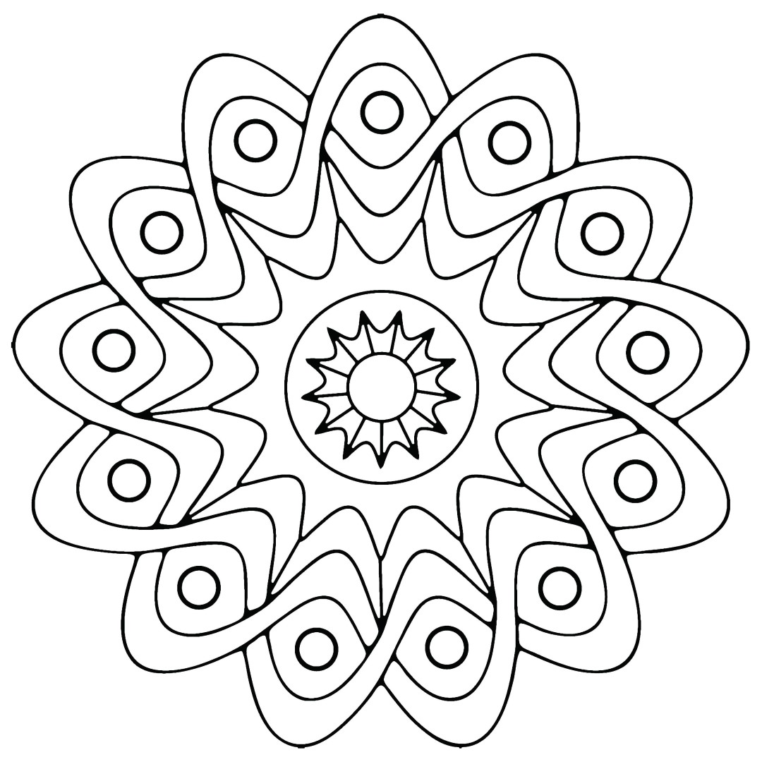 Simple Swirl Flower Shape Mandala Coloring Pages