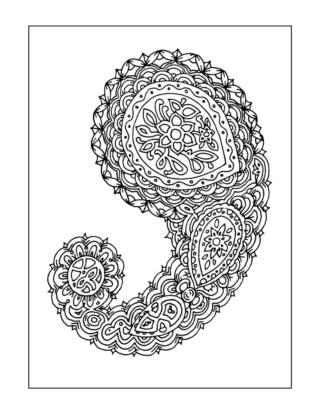 Single Paisley Coloring Page