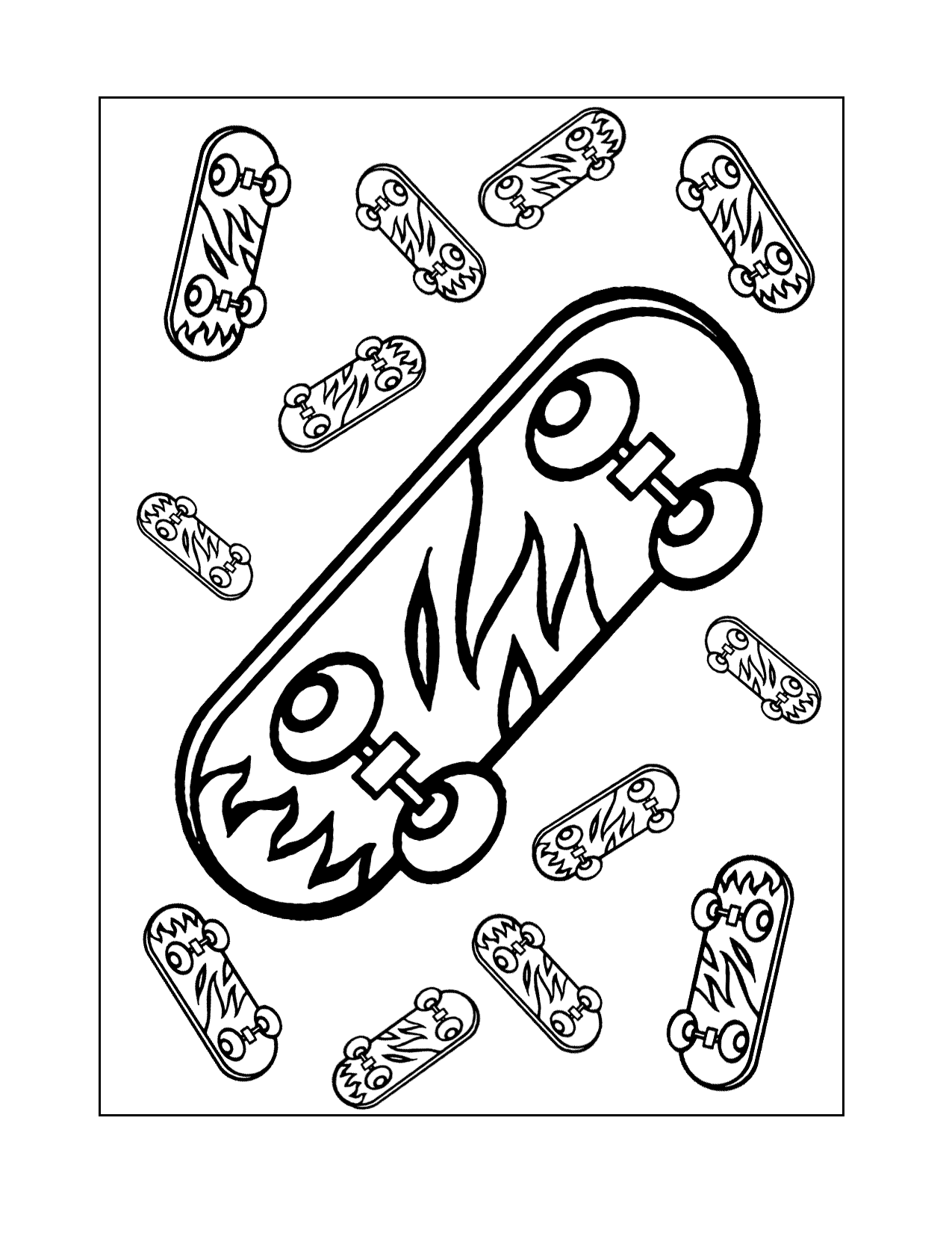 Skateboard With Flames Coloring Page
