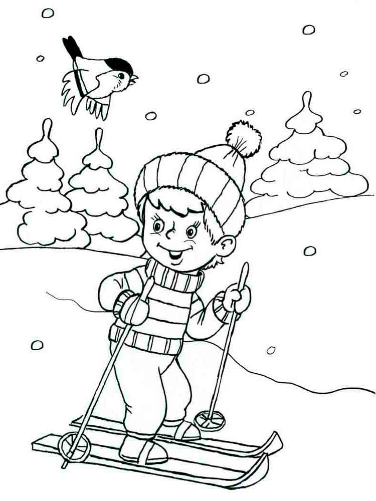 Skiing in Winter Coloring Page