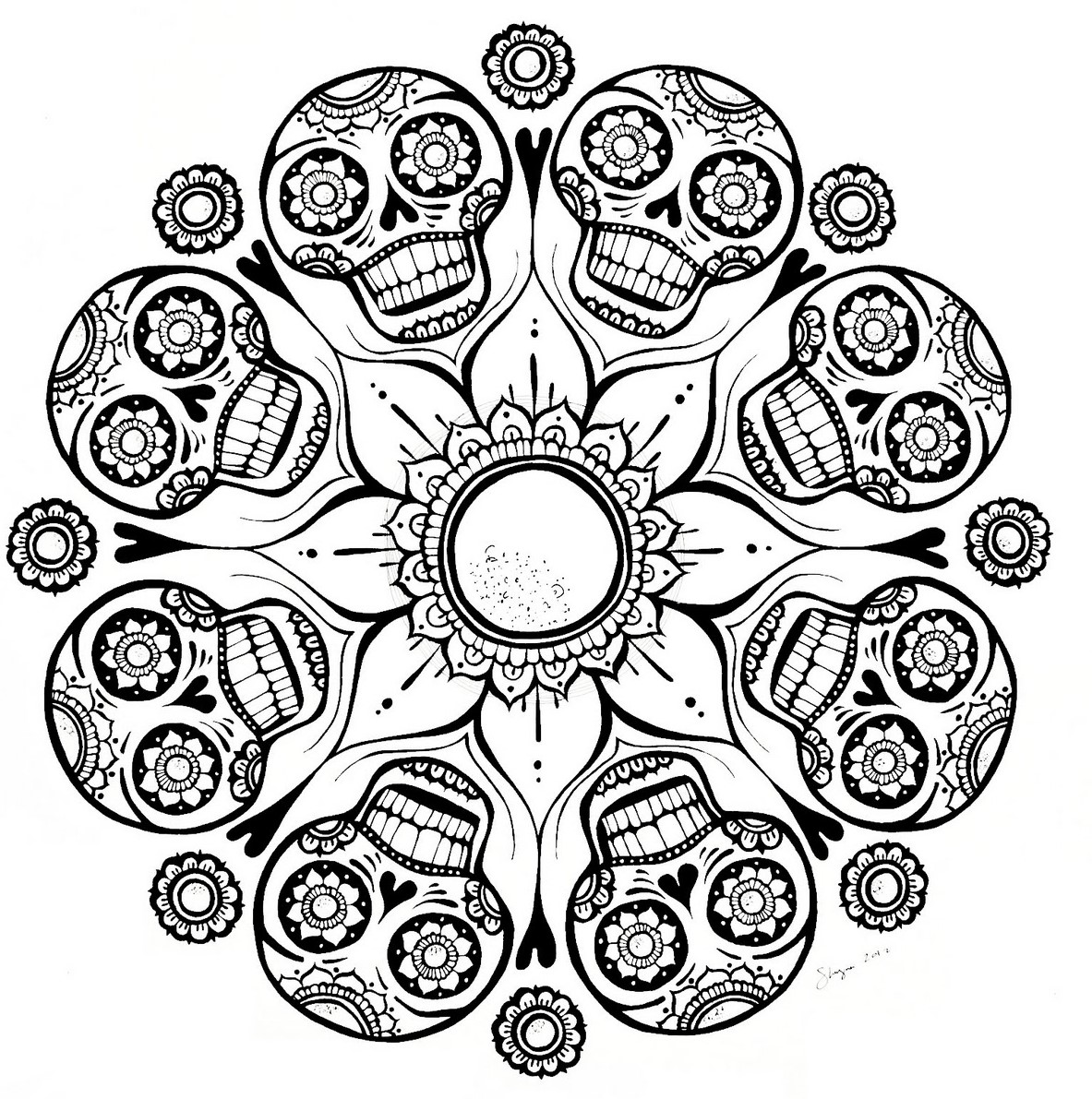 Skull and Flower Mandala Coloring Page for Adults