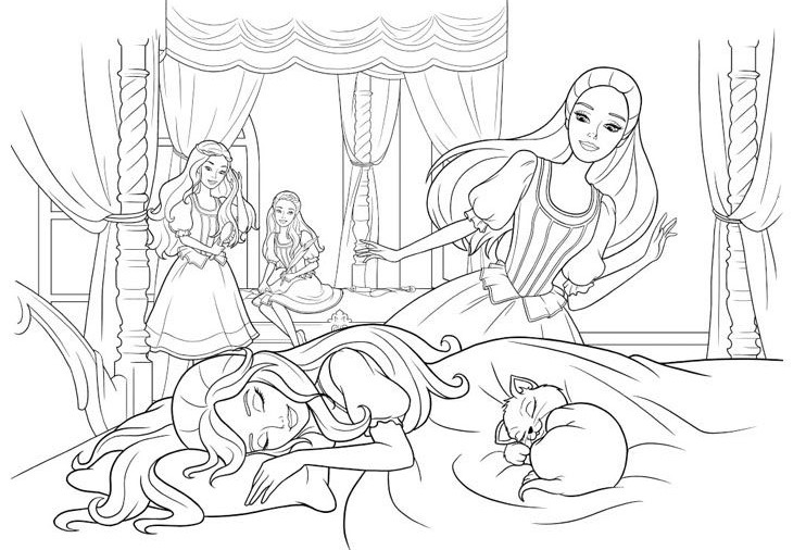 Sleeping Barbie Coloring Page