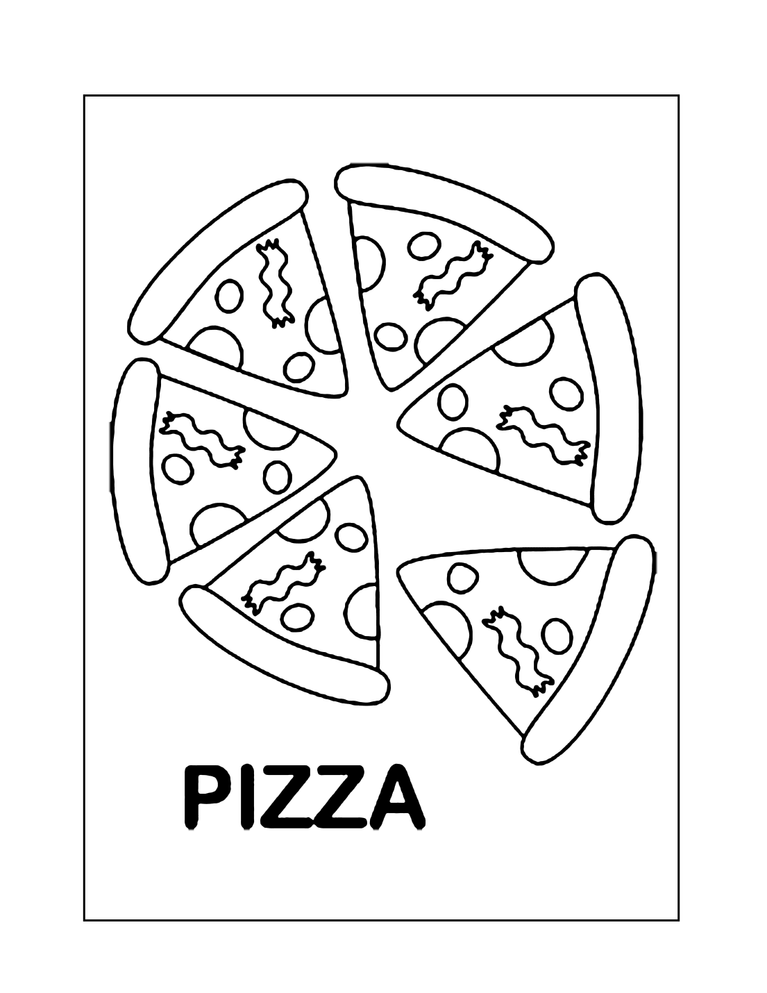 Sliced Pizza Coloring Pages