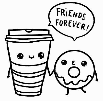 Small Donut and Coffee Friends for Printable Card