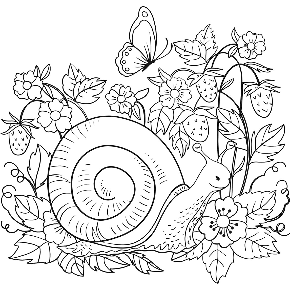 Snail in Strawberry Patch Coloring Page