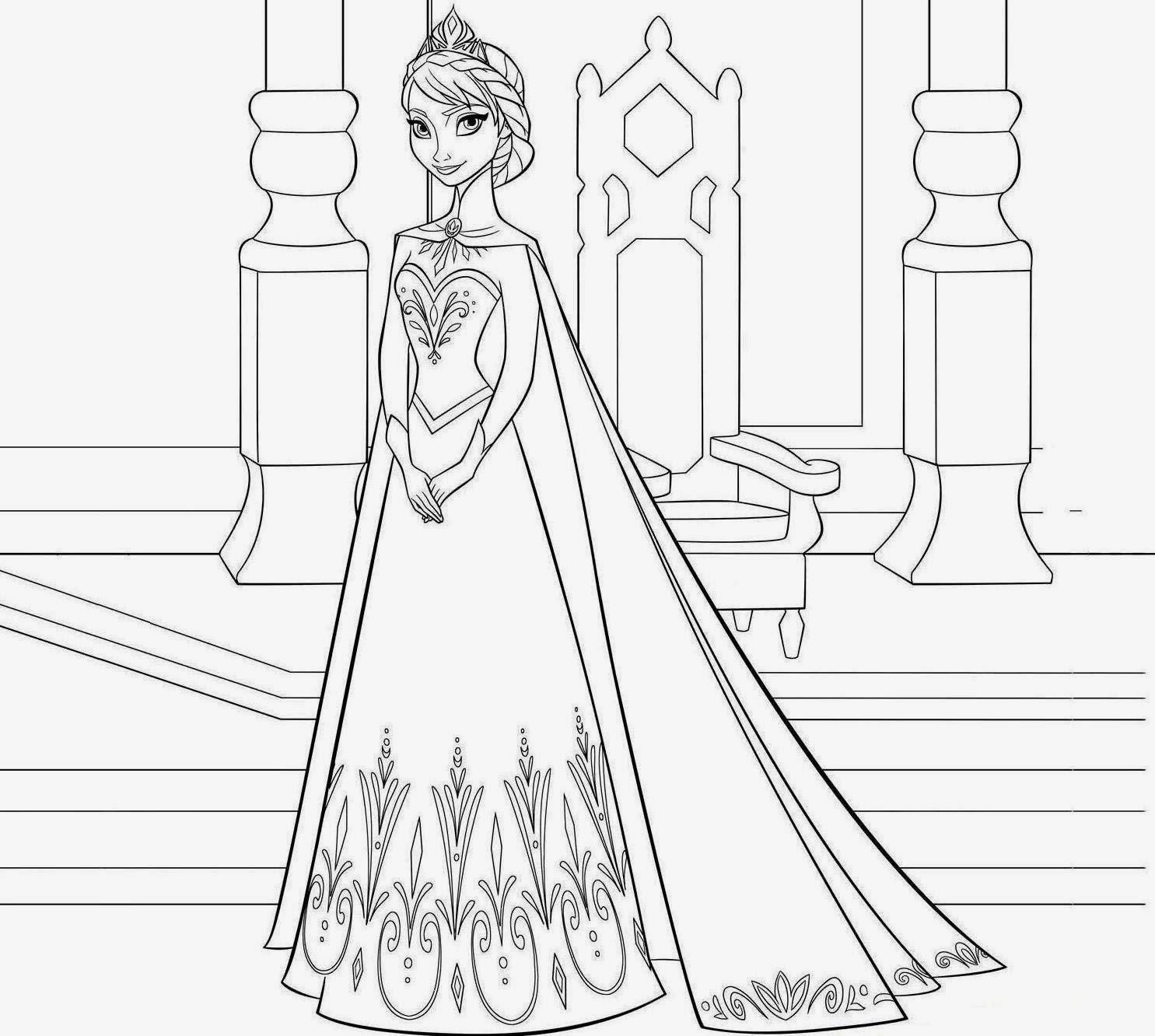Snow Queen Elsa Frozen Coloring Page