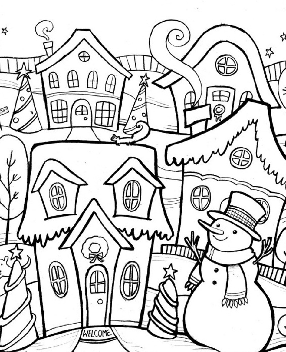 Winter Nature Scene Coloring Page Printable Coloring Rocks