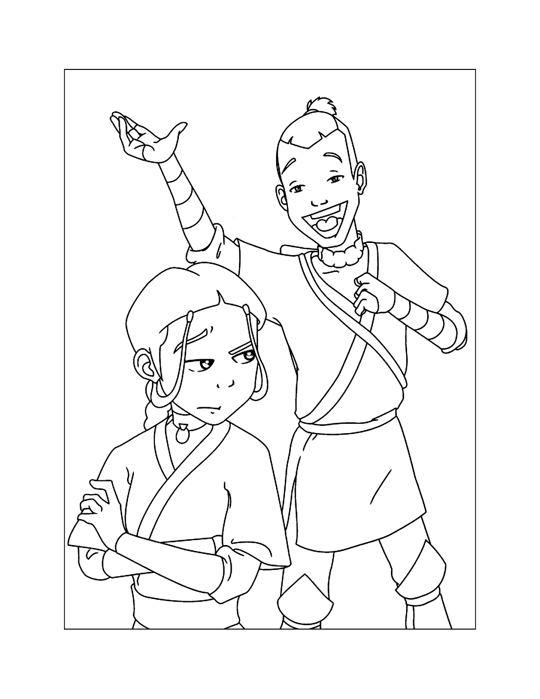 Sokka Being Funny Avatar Coloring Page