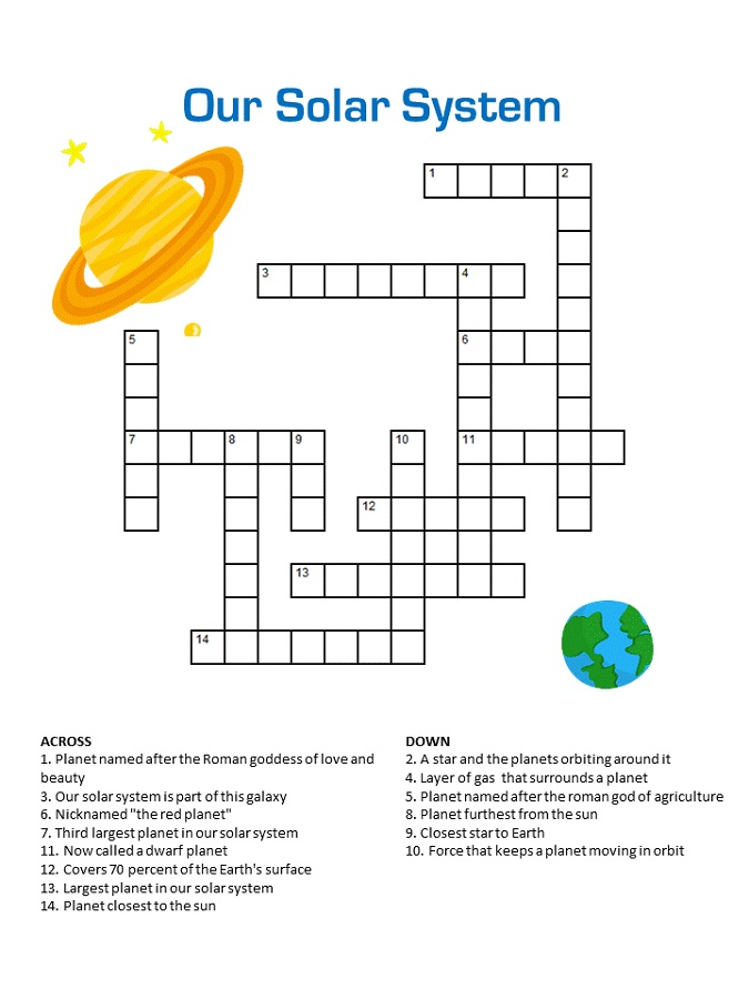 Solar System Crossword Puzzles for Kids