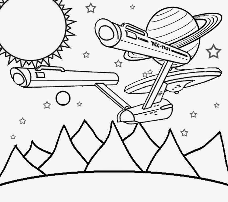 Spaceship in the Solar System Coloring Page