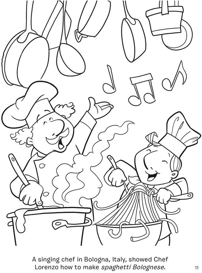 Spaghetti Chef Coloring Page
