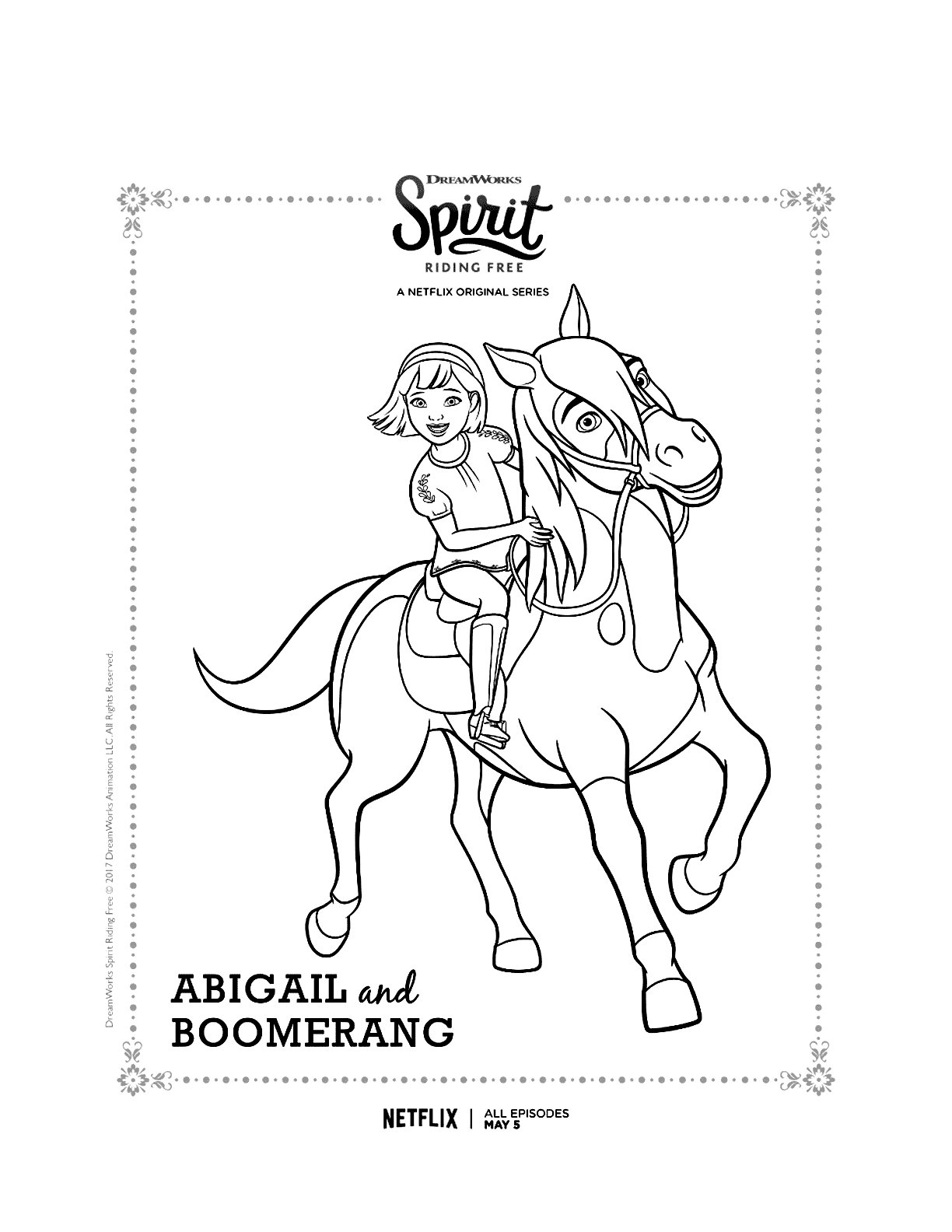 Spirit Riding Free Abigale And Boomerang Coloring Page