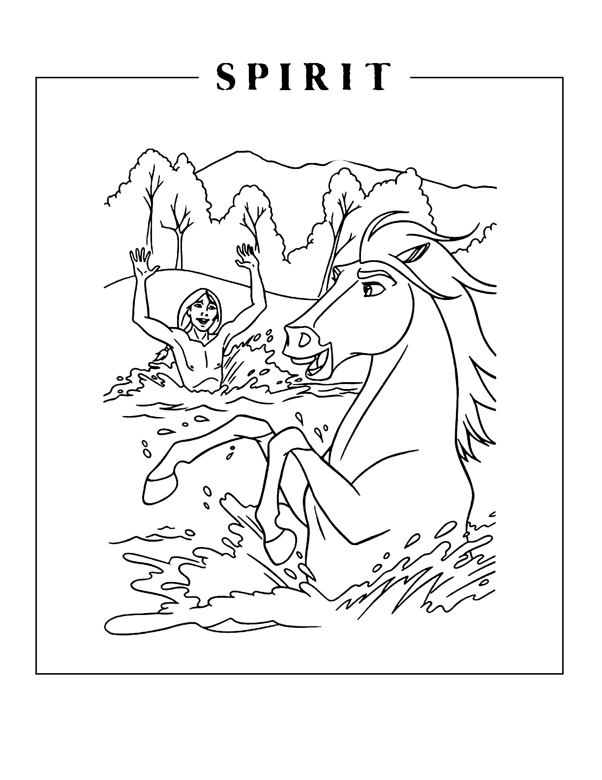 Spirit And Little Creek In The Water Coloring Page