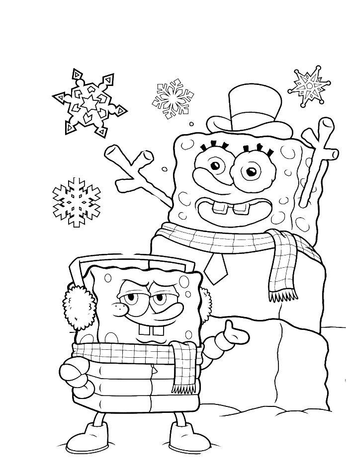 Spongebob Snowman Coloring Pages