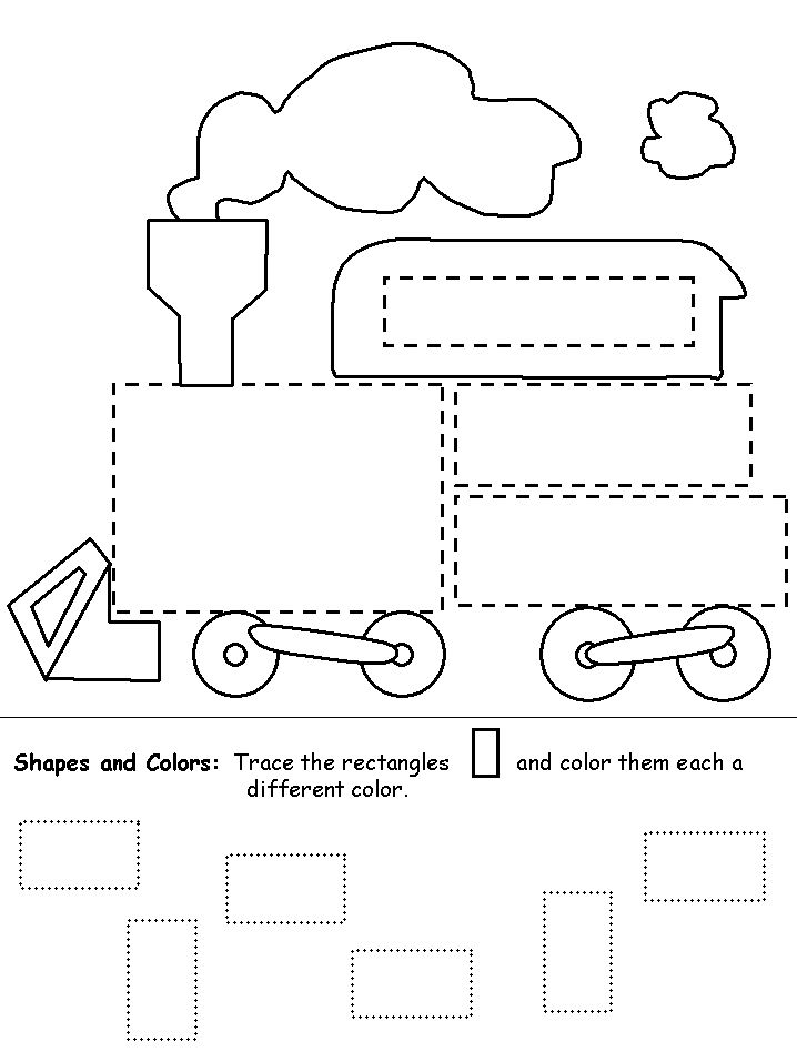 Square Train Preschool Tracing Pages