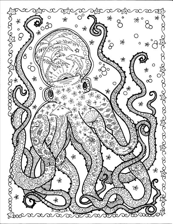 Squid Coloring Pages for Teenagers