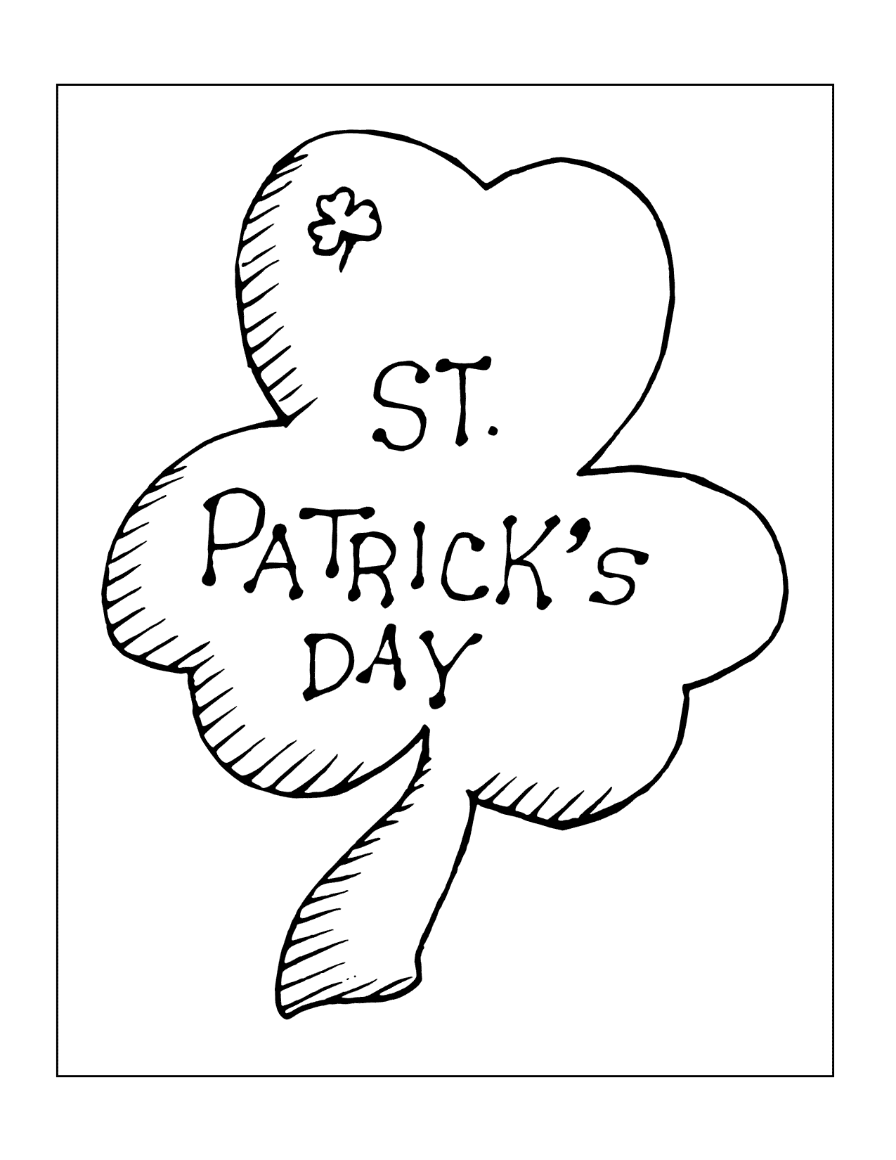 St Patricks Day Shamrock Coloring Page