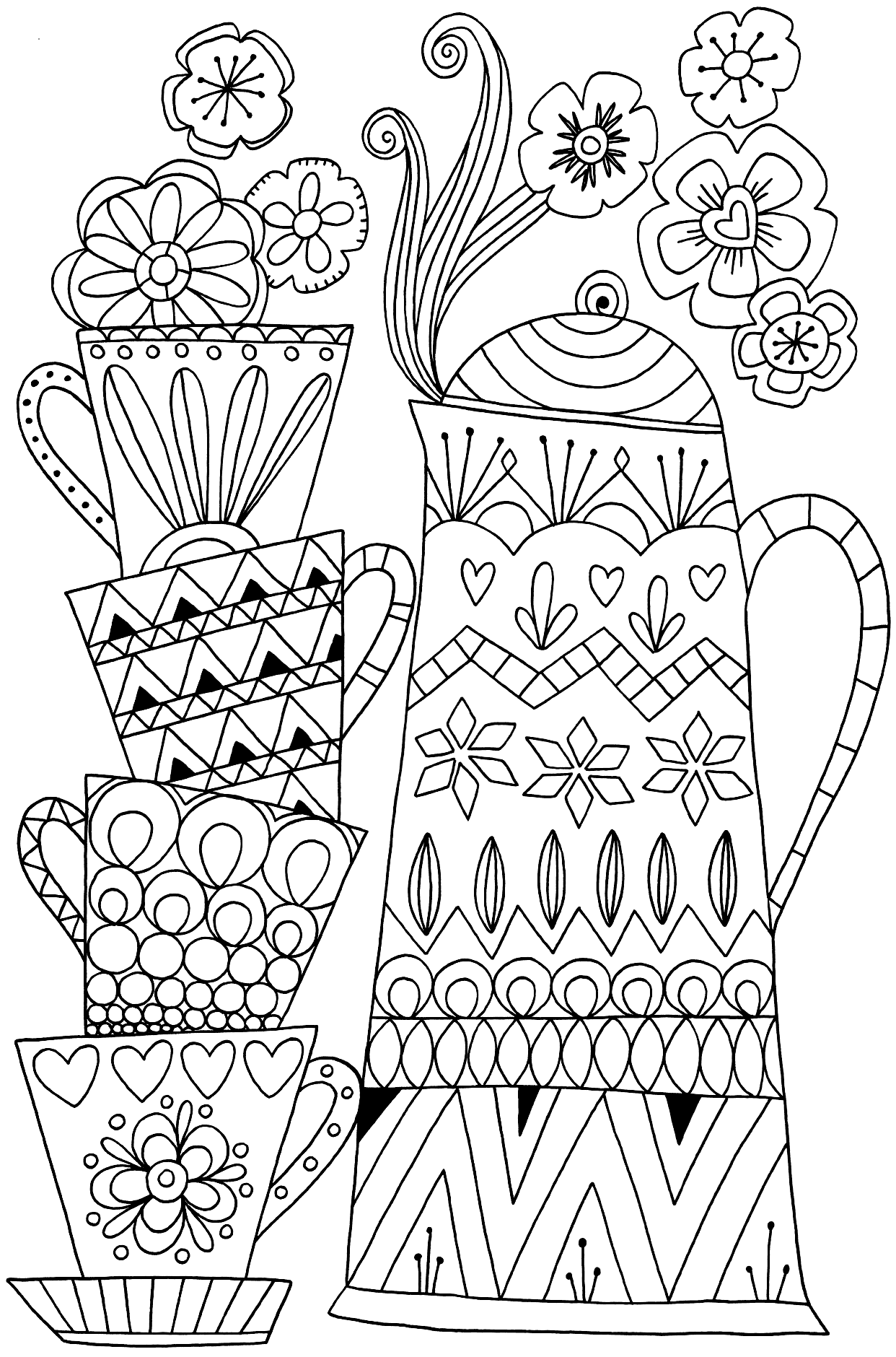 Stacked Coffee Cups Coloring Page