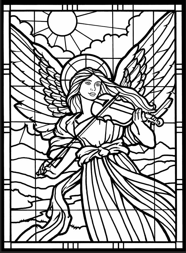 Stained Glass Angel Church Coloring Pages