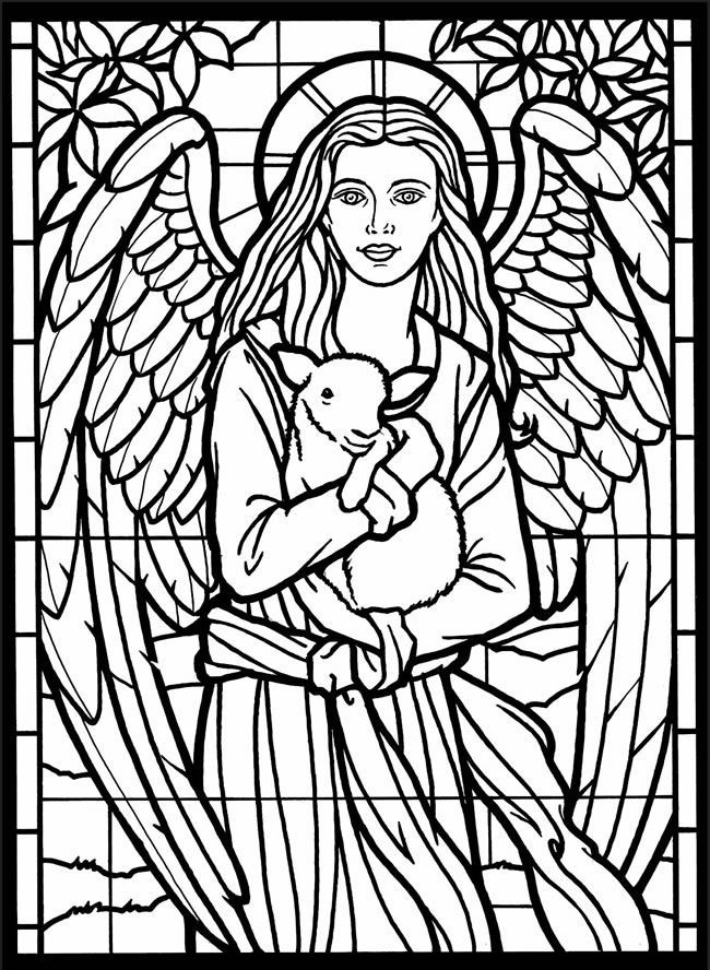 Stained Glass Angel and Lamb Coloring Page
