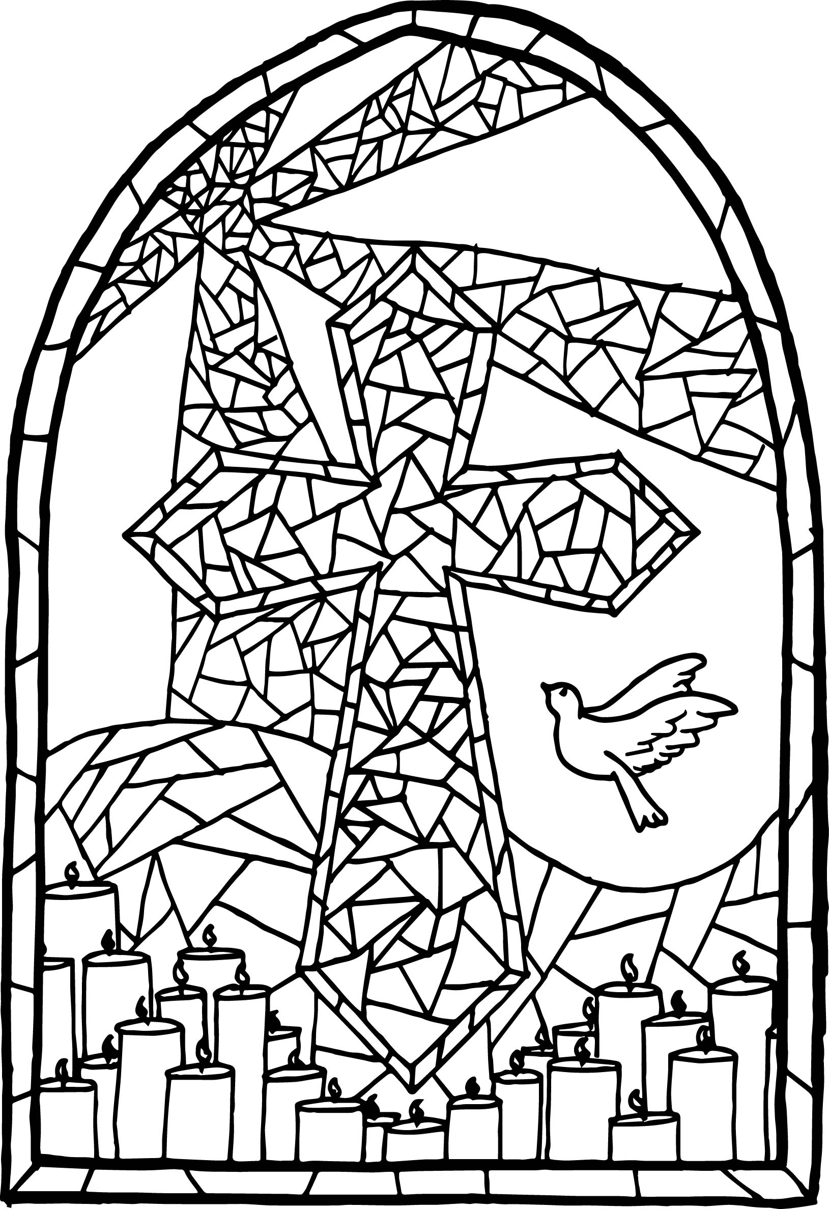 Stained Glass Window and Cross Coloring Page
