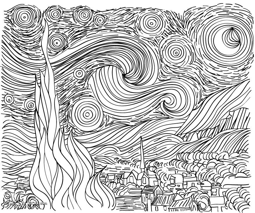 Starry Night Line Art Coloring Page