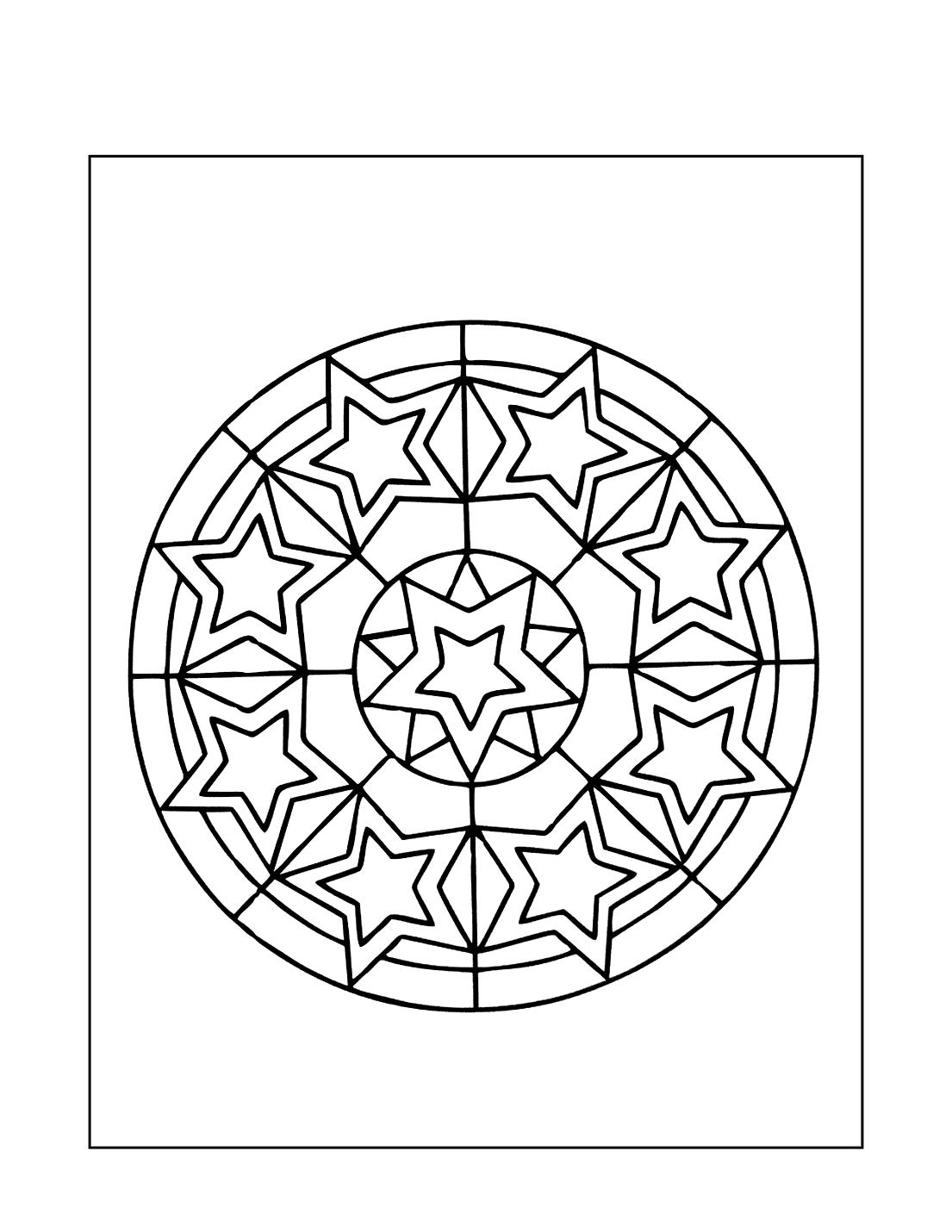 Stars Pattern Mandala Coloring Pages