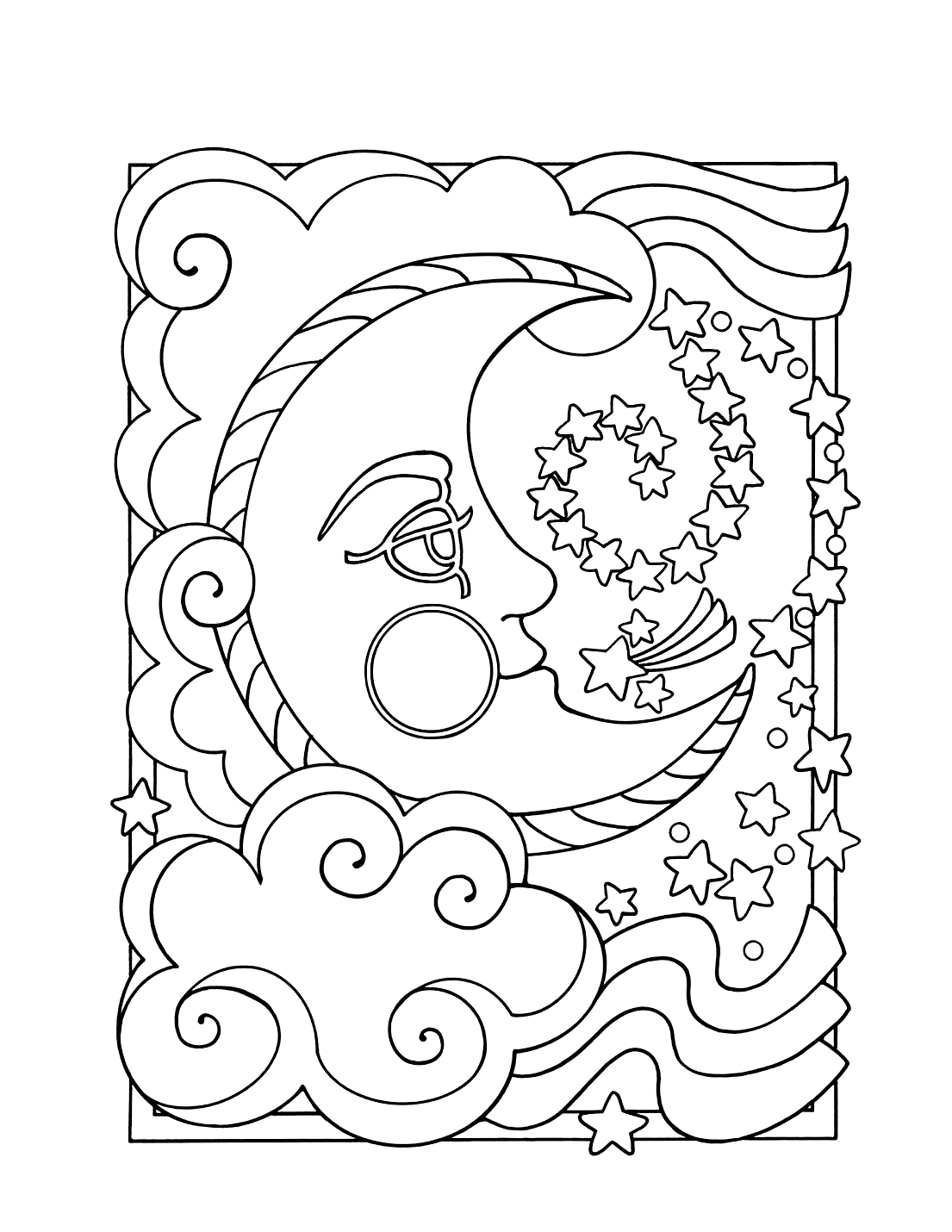Stars And Moon Coloring Pages