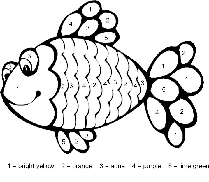 Striped Fish Color by Number