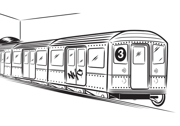 Subway Train Coloring Page