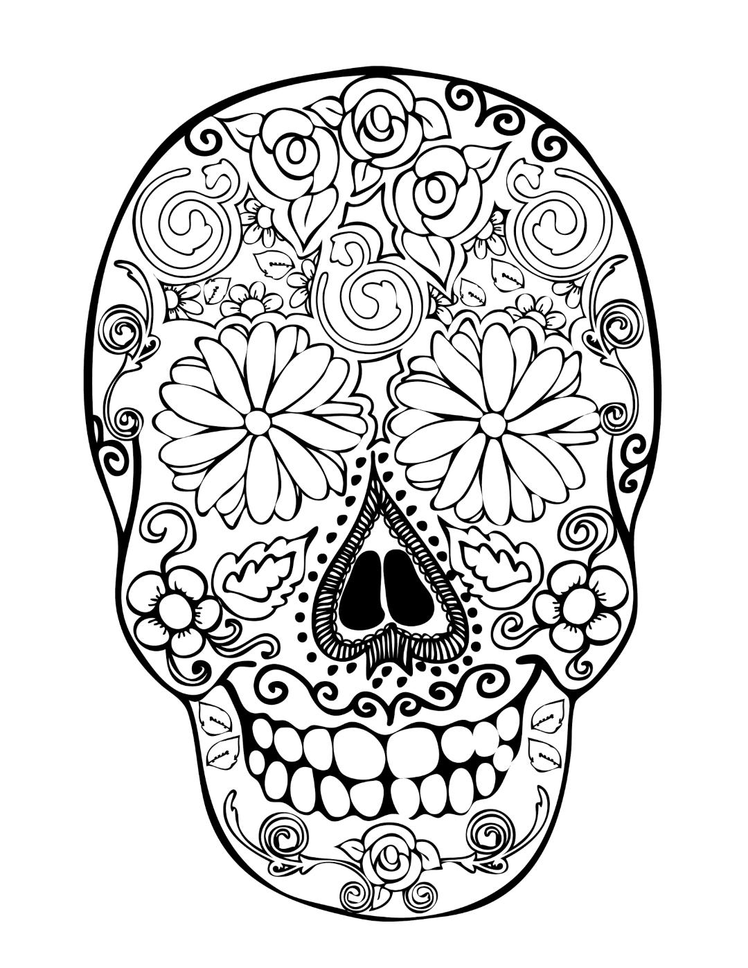 Sugar Skull Coloring Page Printable