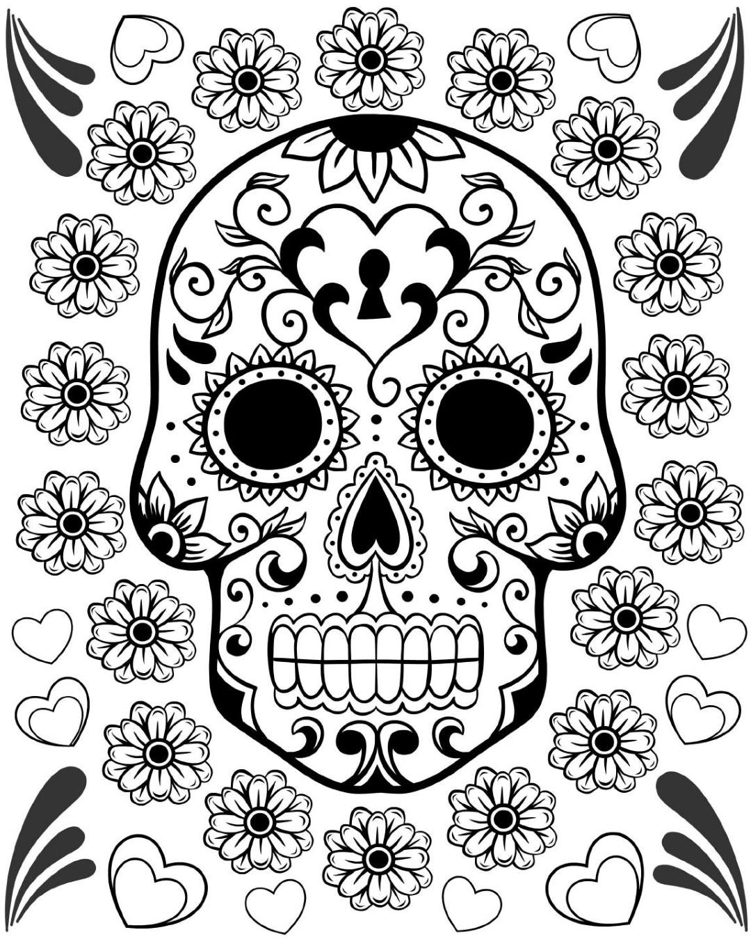 Sugar Skull Design Printable Coloring Page