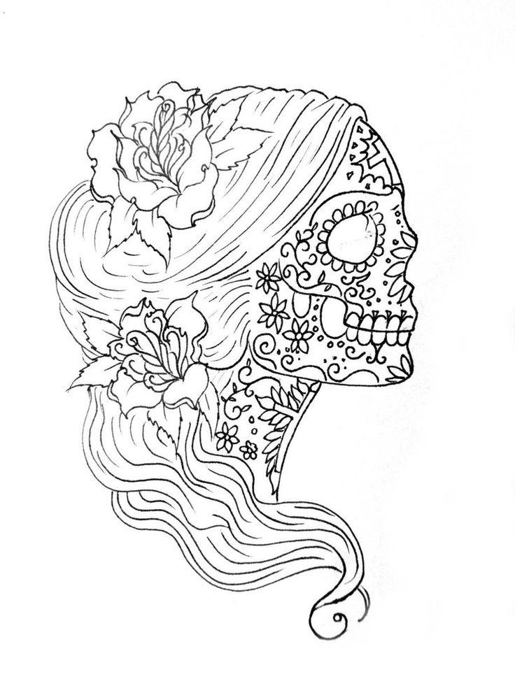 Sugar Skull Female Coloring Page