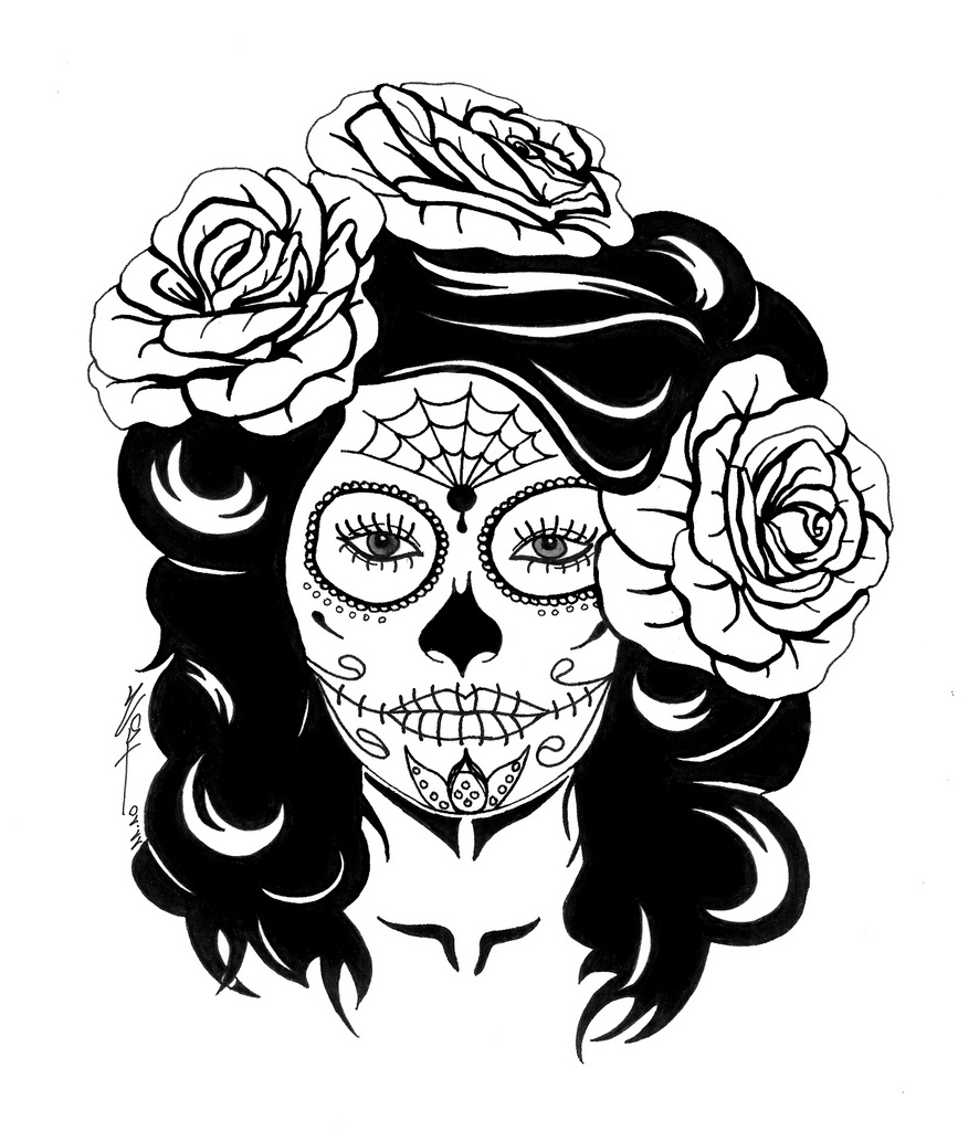 Sugar Skull Female Coloring Pages