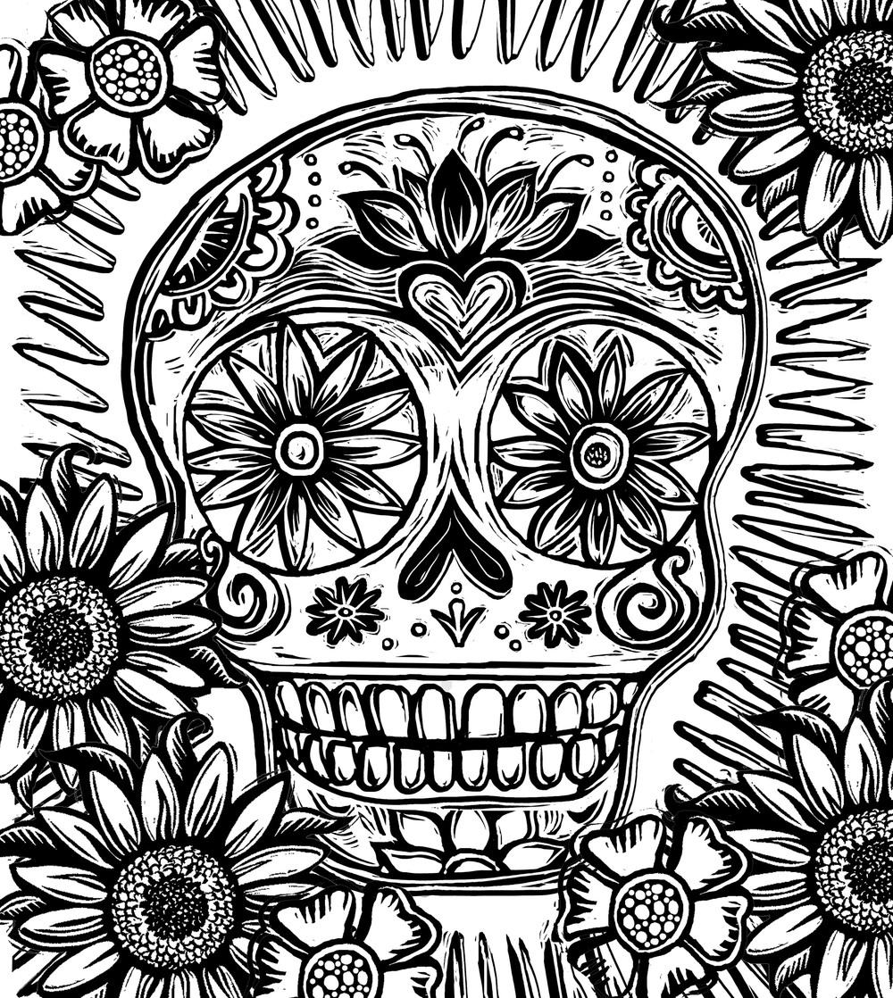 Sugar Skull Flower Design Coloring Pages