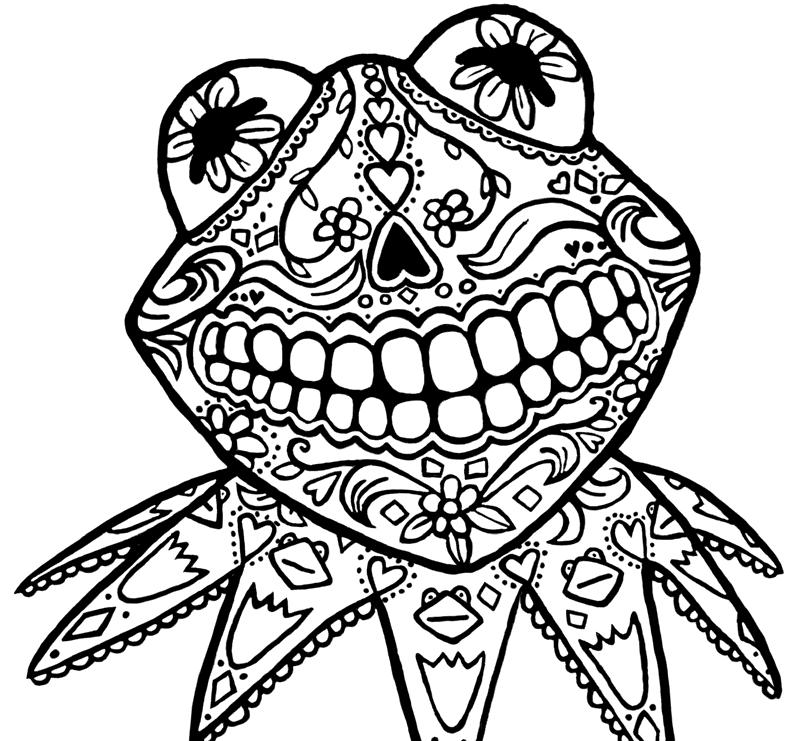Sugar Skull Kermit Coloring Pages