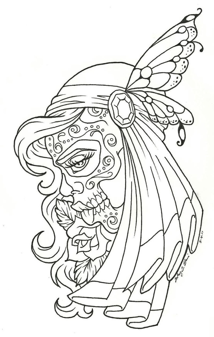 Sugar Skull Lady Coloring Pages