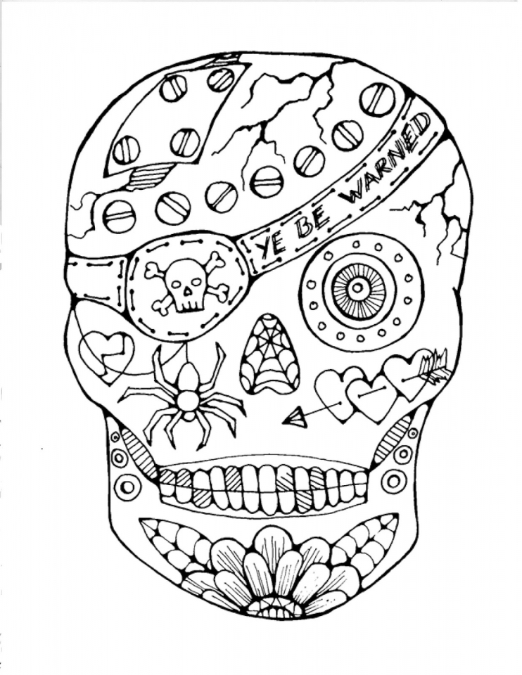 Sugar Skull Pirate Coloring Pages