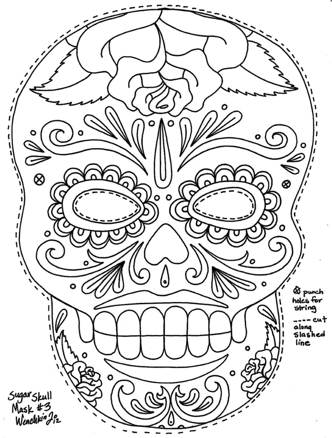 Sugar Skull Printable Mask to Color
