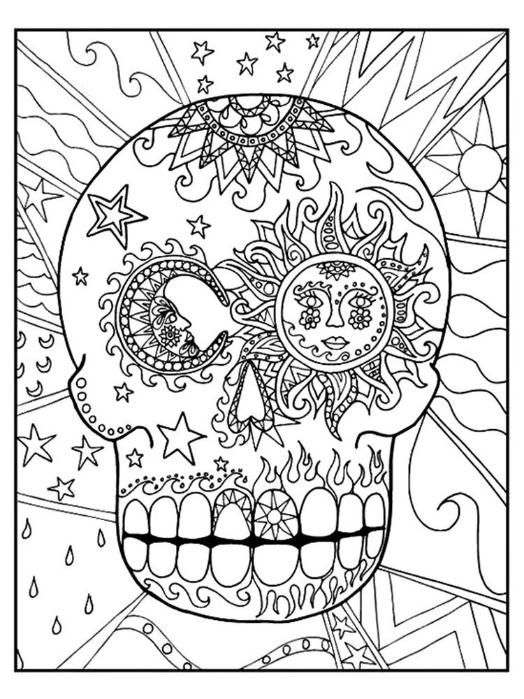 Sugar Skull Sun and Moon Coloring Pages