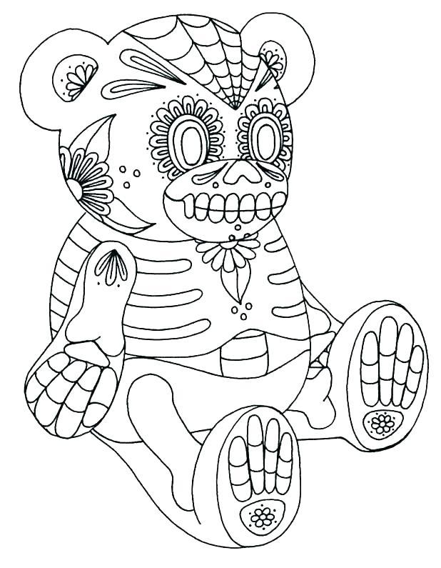 Sugar Skull Teddy Bear Coloring Page