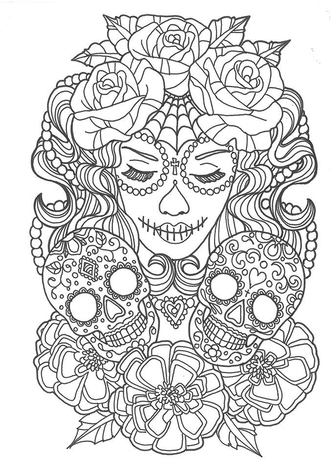 Sugar Skull Woman Design Coloring Pages