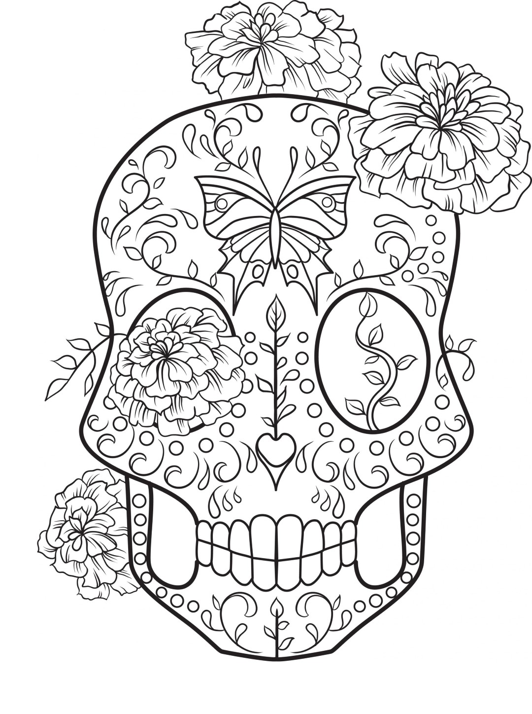 Sugar Skull with Flowers to Color