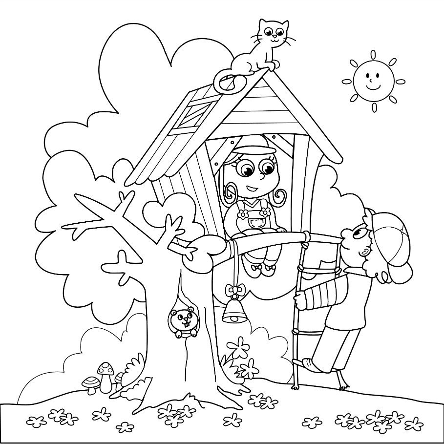 Summer Treehouse Coloring Page