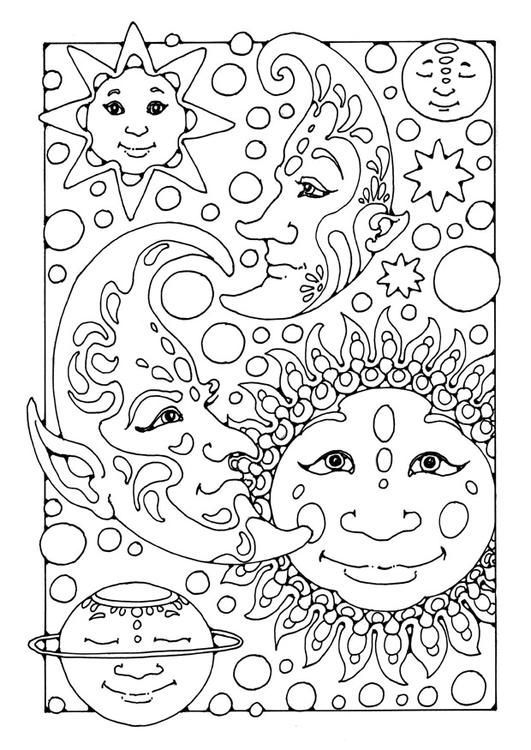 Sun and Moon Coloring Pages for Teens
