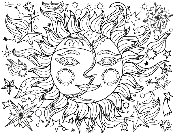 SunMoon Coloring Pages for Teenagers