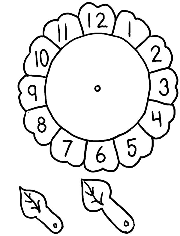 Sunflower Clock Preschool Worksheet