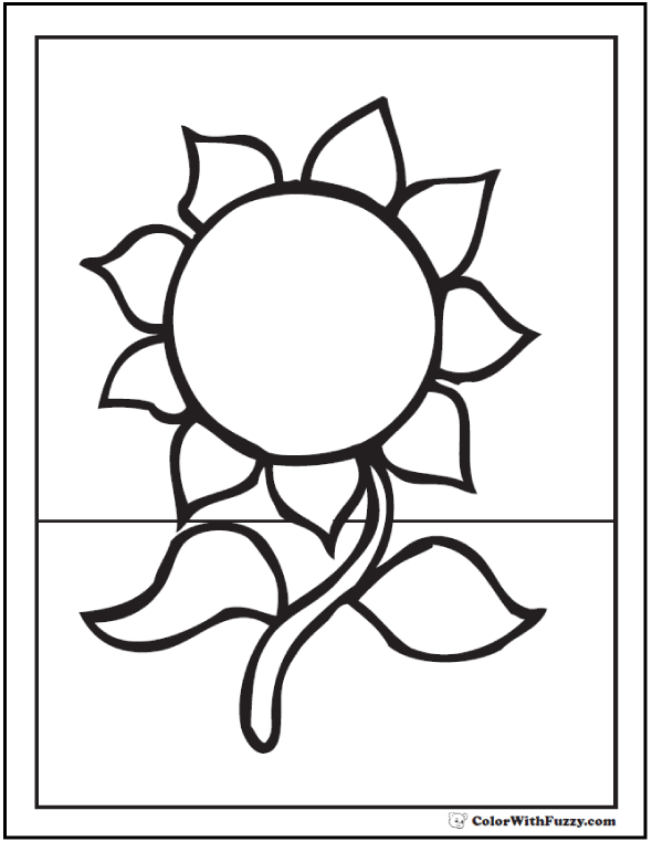 Sunflower Coloring Pages for Preschoolers