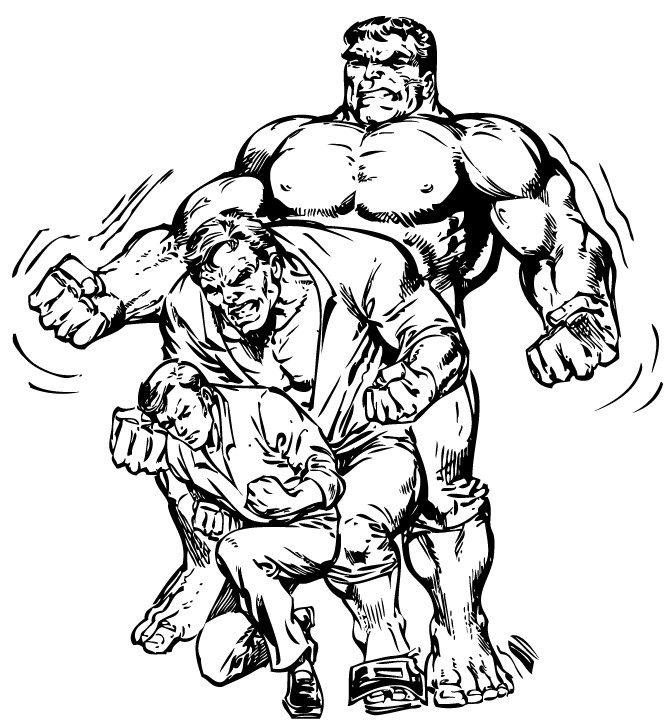 Superhero Coloring Pages Banner to Hulk